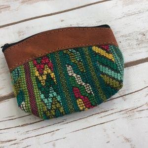 Handbags - Mexican Green Yellow Woven Tapestry Coin Purse